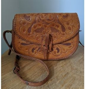 1940s Clifton's Hand Tooled Leather Bag